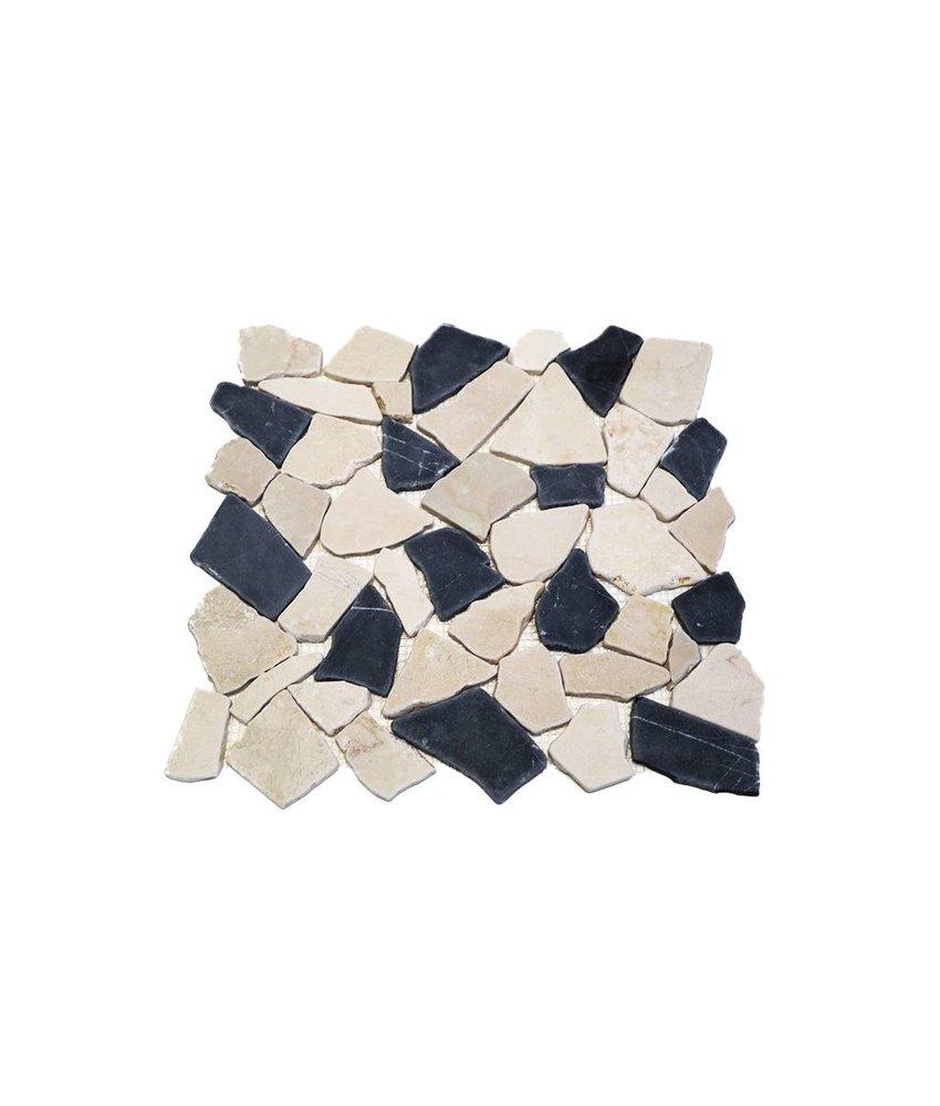 Natursteinfliese RM-0004 Crush black & white
