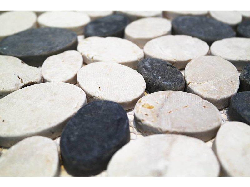 BÄRWOLF Natursteinfliesen PMG-10001 Pebble white grey mix
