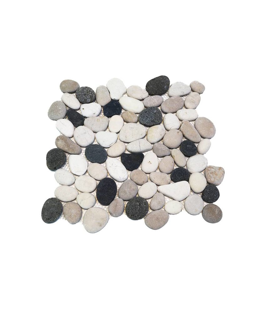 Natursteinfliesen PM-0006 Pebble black spotted mix