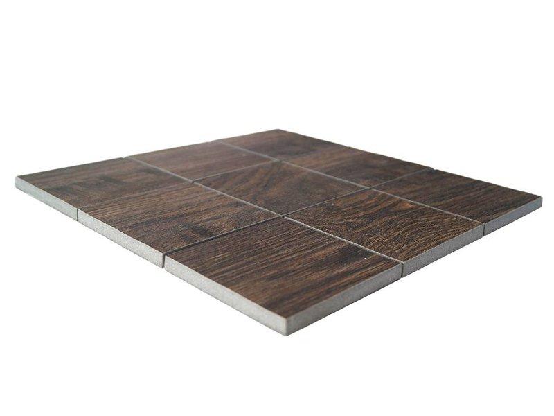 BÄRWOLF Keramik Mosaikfliesen KEG-14032 Wood eichenholz-braun
