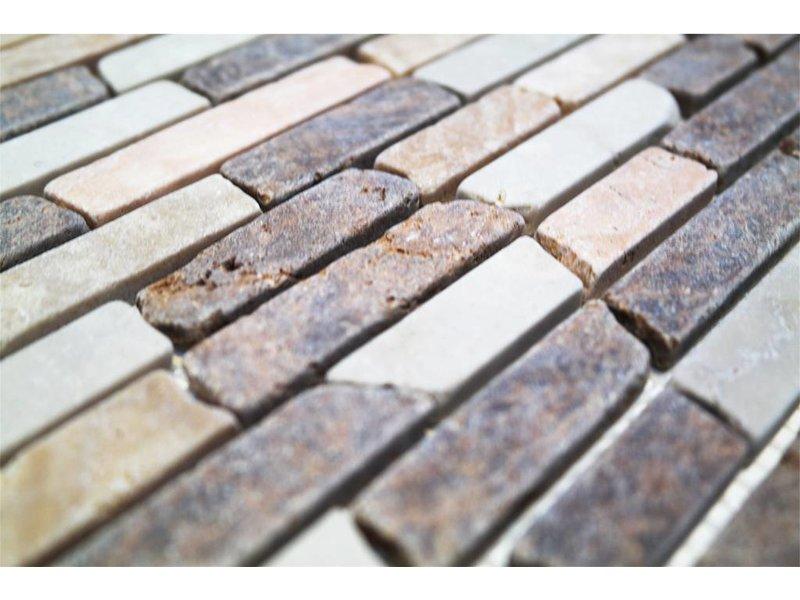 BÄRWOLF Naturstein Mosaikfliesen CM-7107 botticino/brown-mix