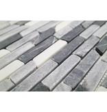 BÄRWOLF Naturstein Mosaikfliesen CM-7103 nero marq/white/grey