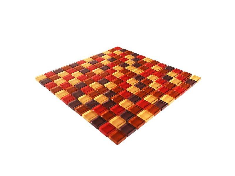GLASMOSAIK FLIESEN - rot / beige / braun mix - G004