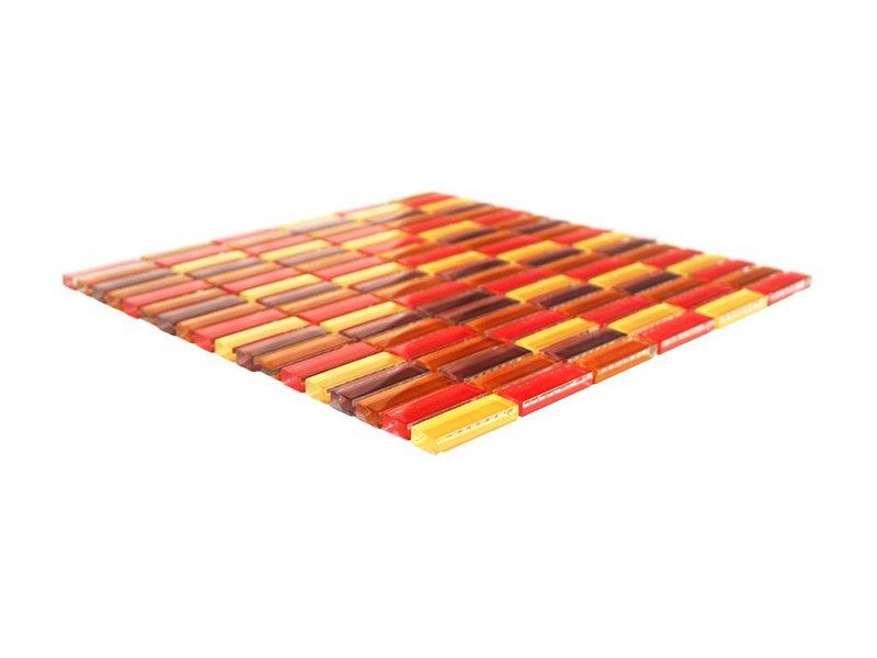 GLASMOSAIK FLIESEN - rot / beige / braun mix - G034