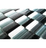 GLASMOSAIK FLIESEN - schwarz / weiß / grau mix - G035