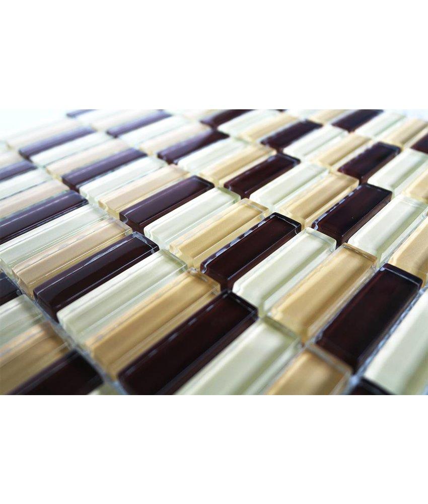 GLASMOSAIK FLIESEN - braun / beige mix - G036