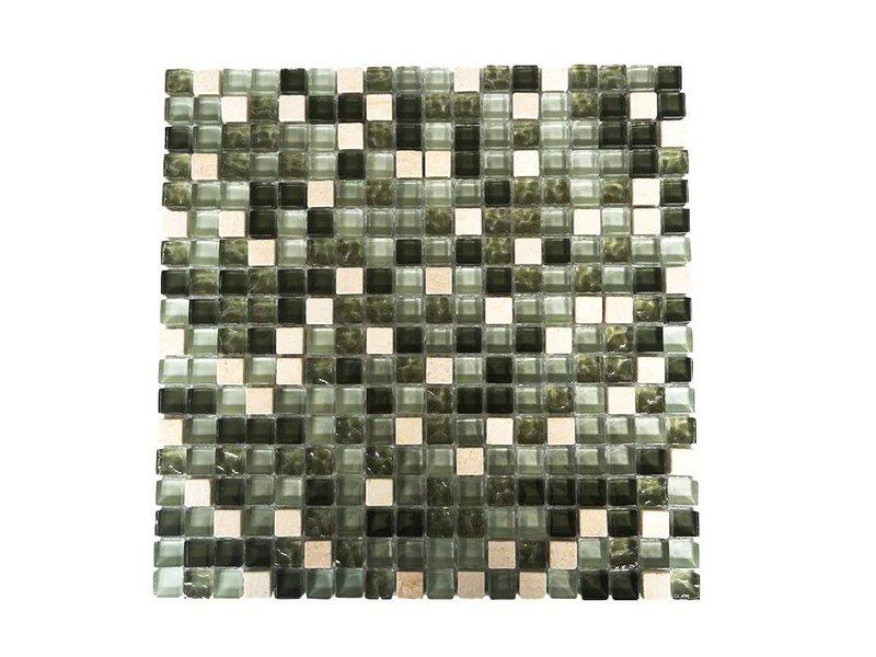 MOSAIKFLIESEN - Glas / Naturstein - grün mix G 103