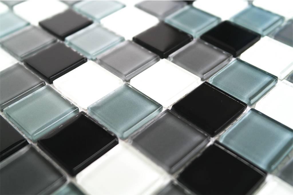 GLASMOSAIK FLIESEN - schwarz / weiß / grau mix - KR10 ...