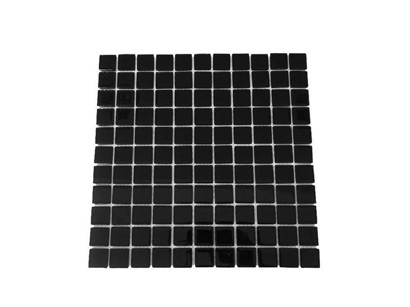 GLASMOSAIK FLIESEN - schwarz uni - KR12
