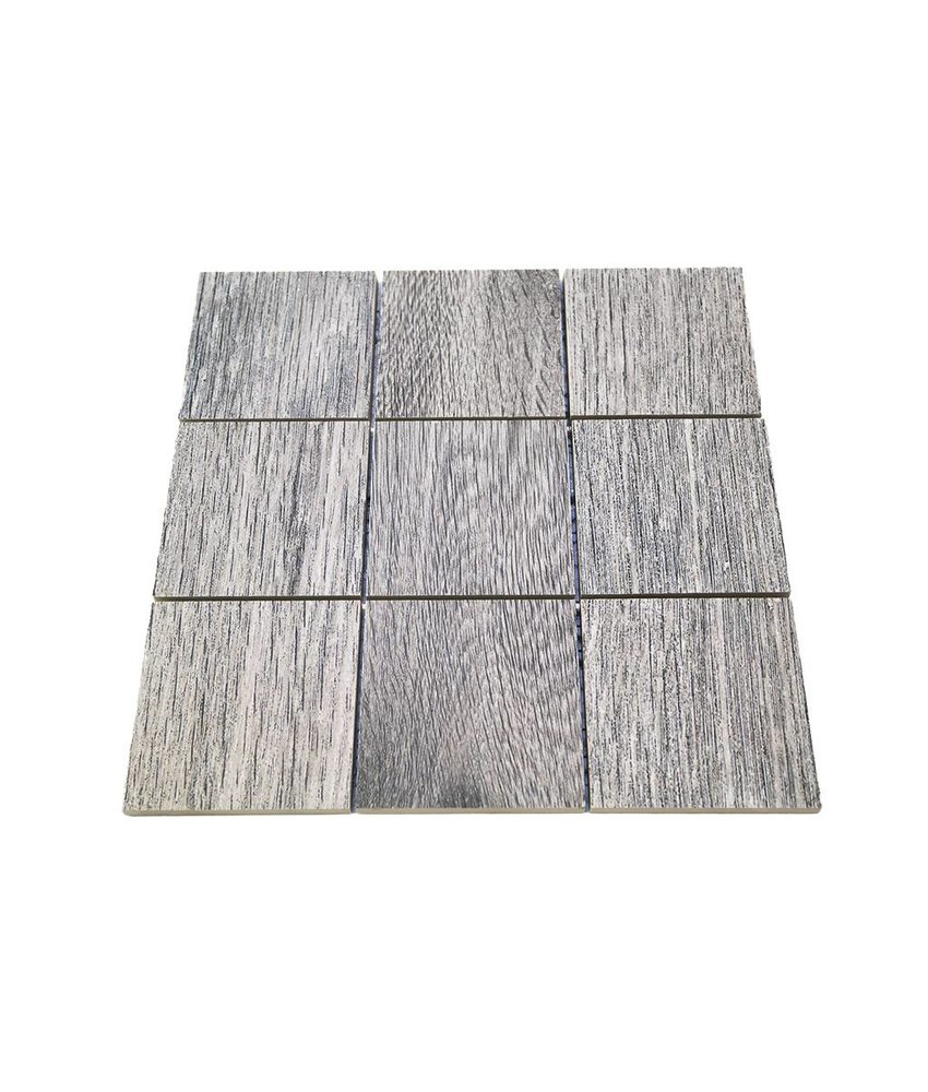 Keramik Mosaikfliesen KEG-14033 Wood eichenholz-grau