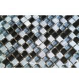 MOSAIKFLIESEN - Glas / Naturstein - schwarz / grau mix - G106