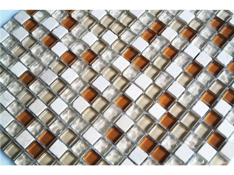 MOSAIKFLIESEN - Glas / Naturstein - beige mix - G107
