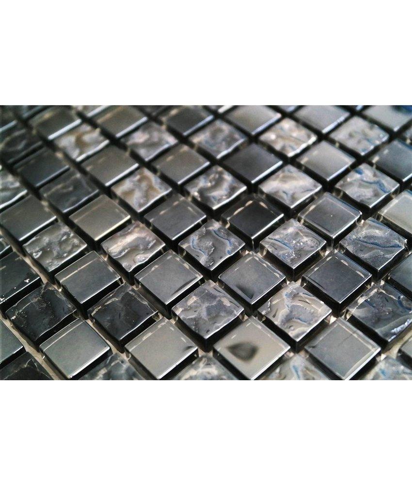 GLASMOSAIK FLIESEN - grau / schwarz / perlmutt - G1515