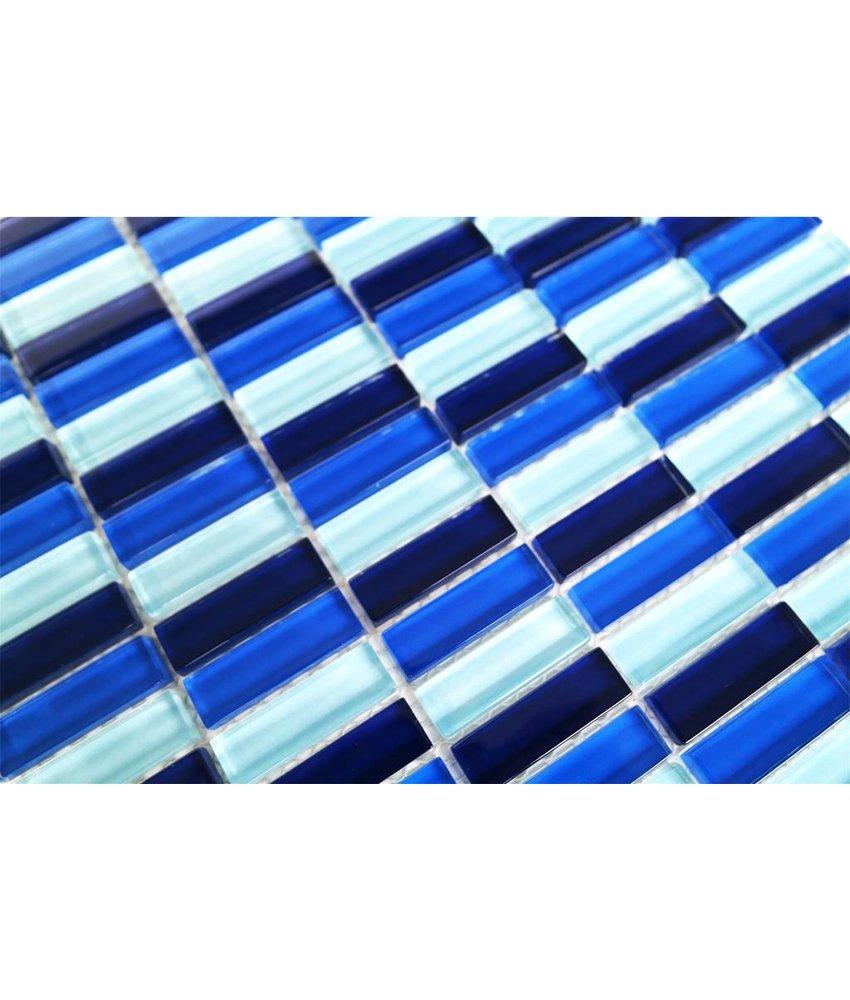 GLASMOSAIK FLIESEN - blau mix - G032