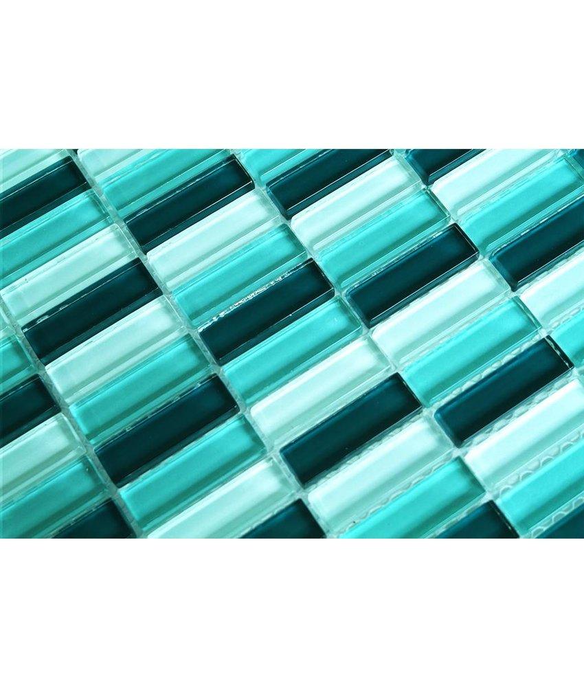 GLASMOSAIK FLIESEN - weiß / grün mix