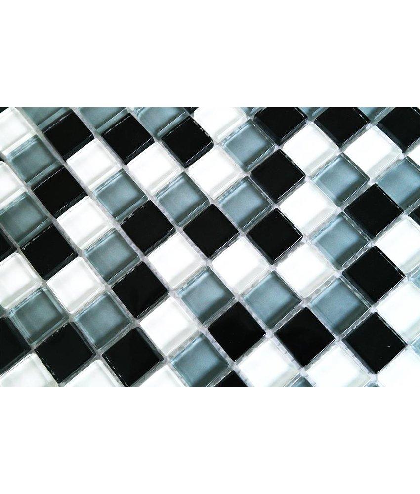 GLASMOSAIK FLIESEN - weiß / grau / schwarz - G005