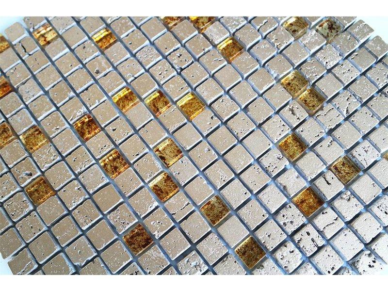 MOSAIKFLIESEN - Glas / Naturstein - gold mix - MOT40