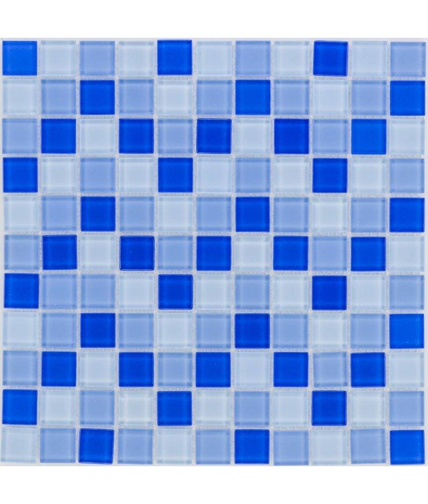 Glasmosaik blau mix, glänzend - 30x30cm
