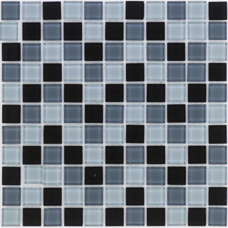 Glasmosaik schwarz grau, glänzend - 30x30cm