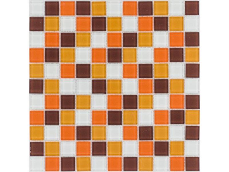 ... Glasmosaik Orange Braun Weiß, Glänzend   30x30cm
