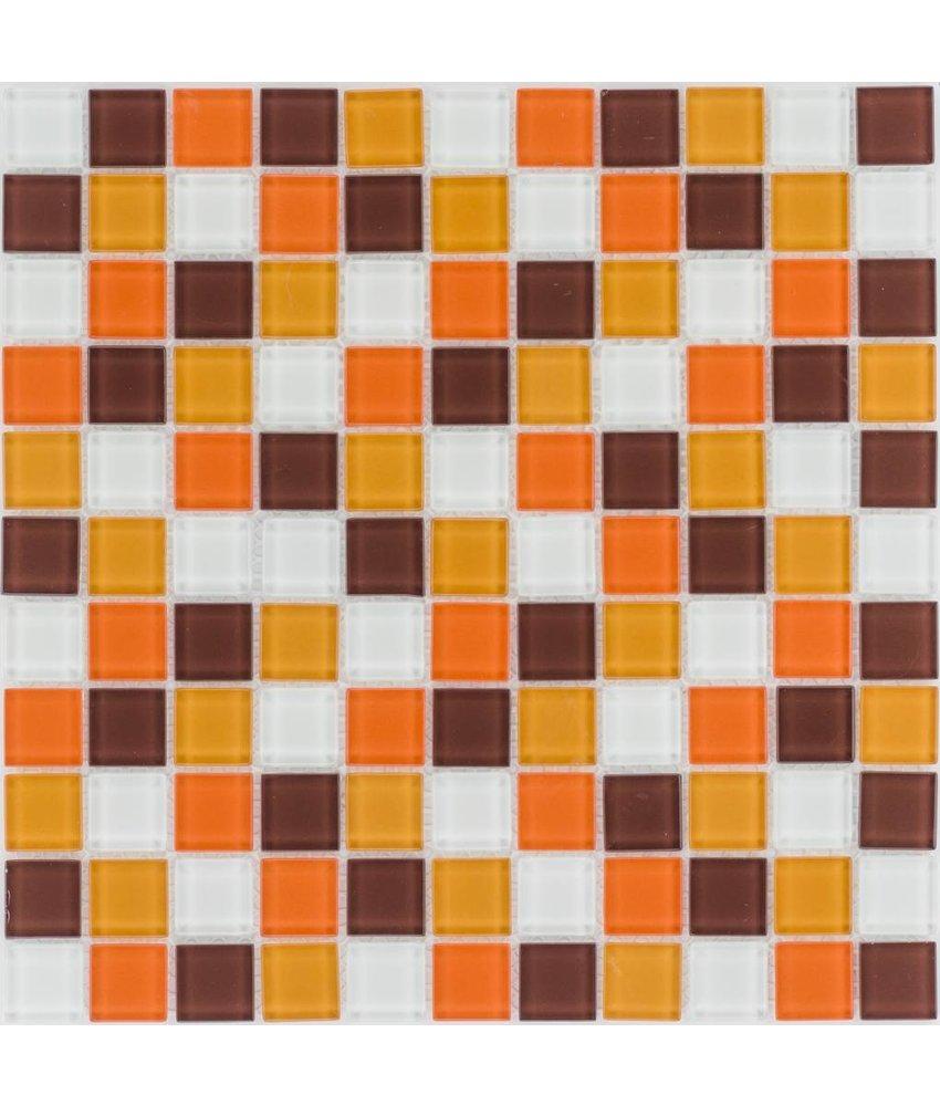 Glasmosaik orange braun weiß, glänzend - 30x30cm