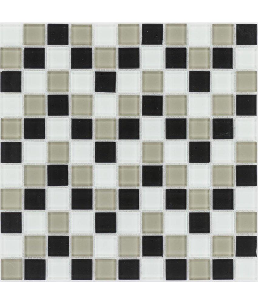 Glasmosaik schwarz beige weiß, glänzend - 30x30cm