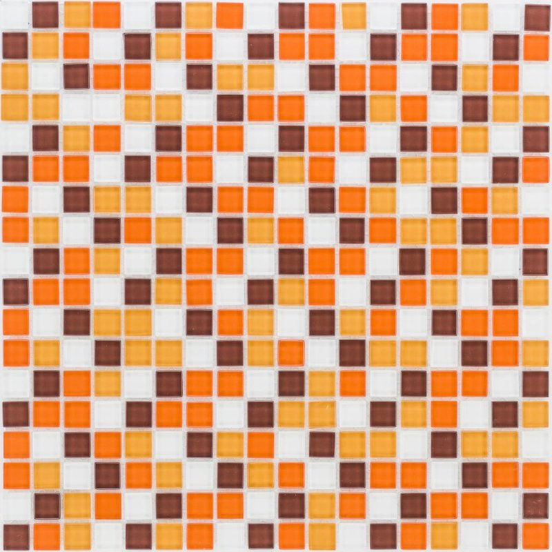 Glasmosaik orange-braun, glänzend - 30x30cm
