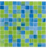 Glasmosaik grün mix, glänzend - 30x30cm