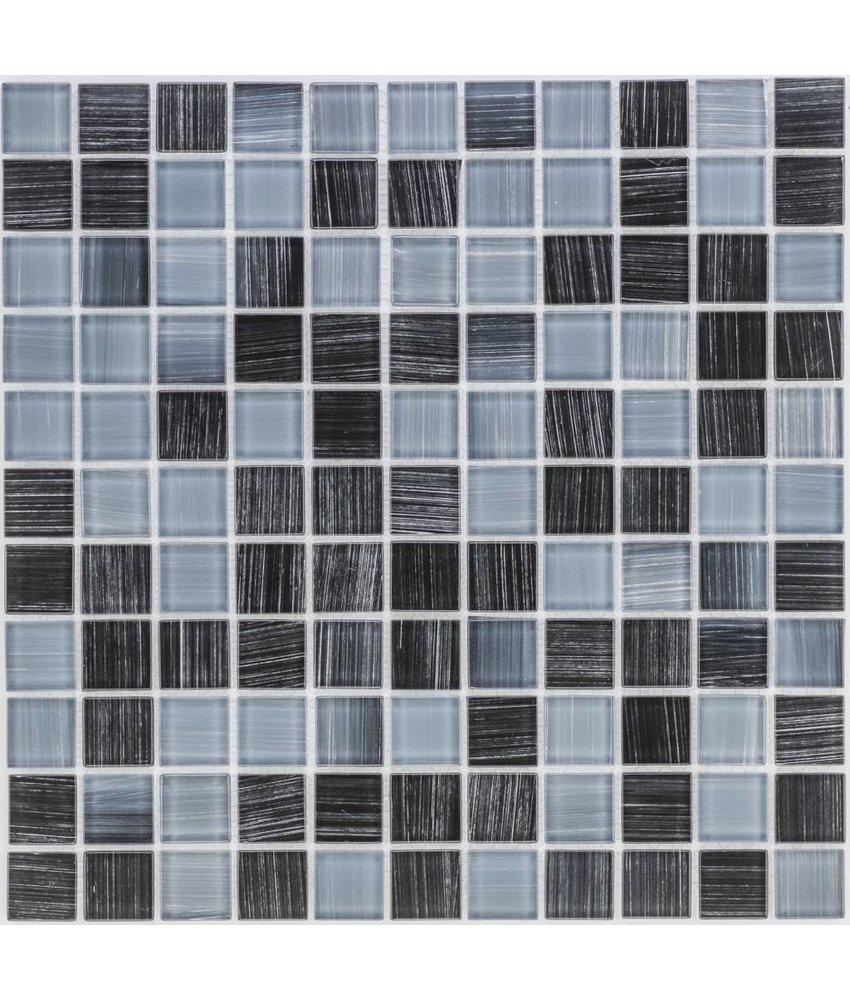 Glasmosaik schwarz-grau, glänzend - 30x30cm