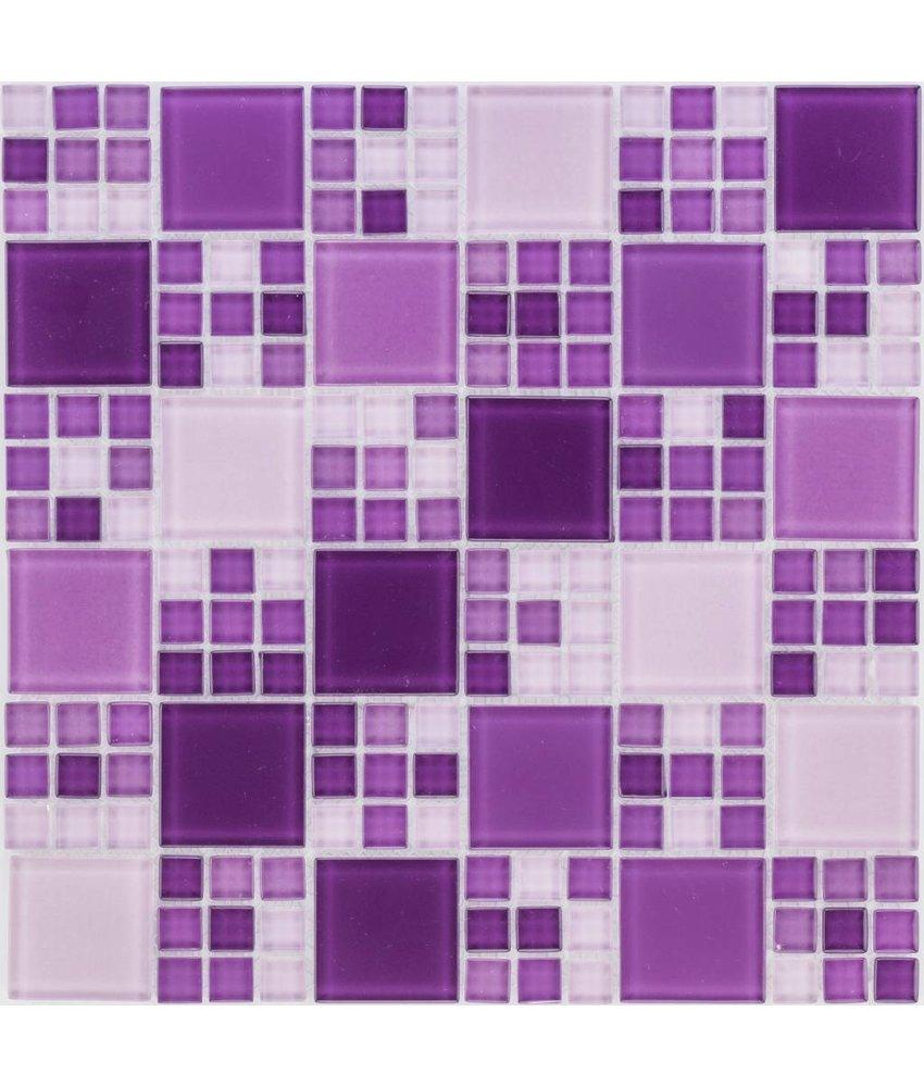 Glasmosaik violett mix, glänzend - 30x30cm