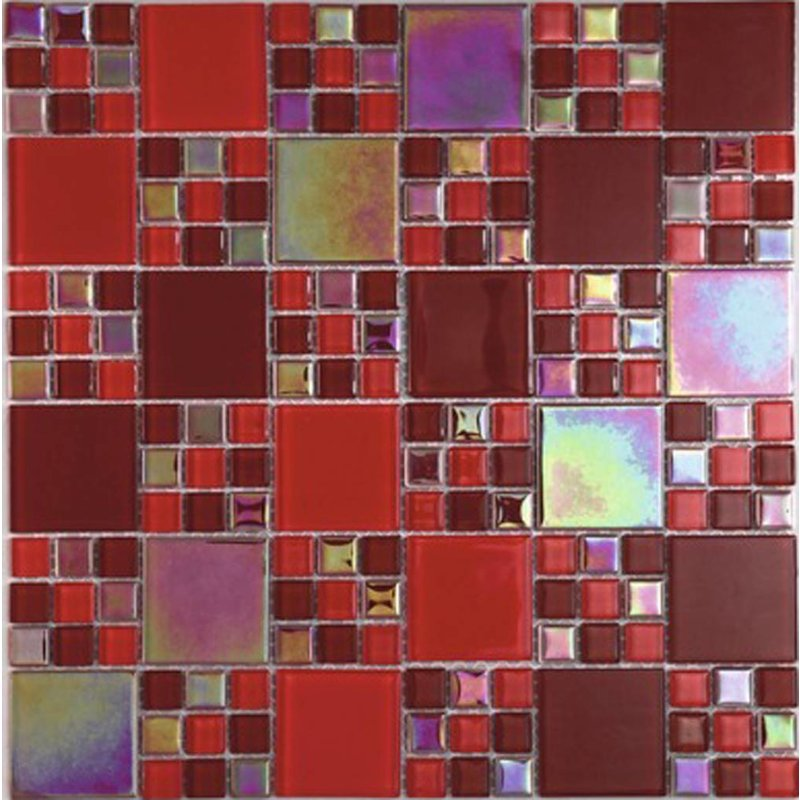 Glasmosaik rot Rainbow, glänzend - 30x30cm