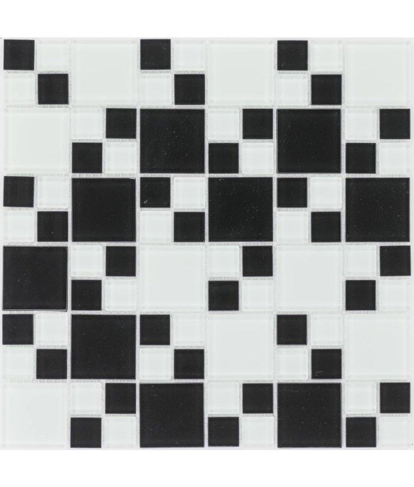 Glasmosaik black+white, glänzend - 30x30cm