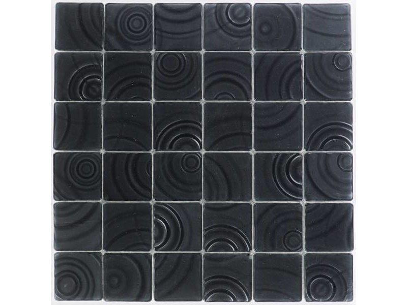 Glasmosaik Curve Black, matt- 30x30cm