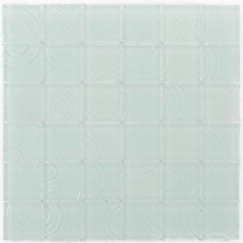 Glasmosaik Curve White, matt- 30x30cm