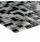 Glasmosaik Mini Black Grey White, glänzend - 30x30cm