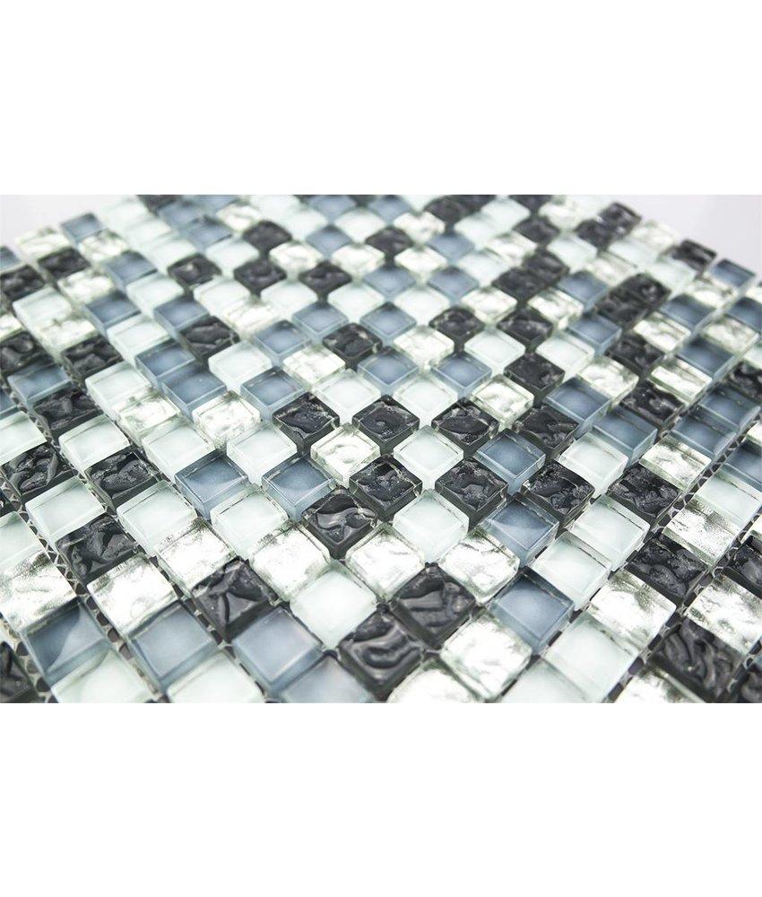 GLASMOSAIK FLIESEN - weiß / silber / grau mix - GM155