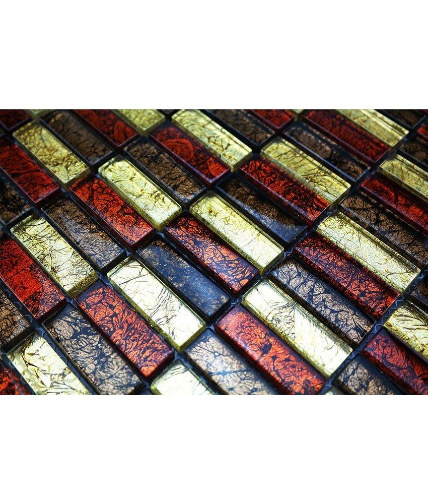 GLASMOSAIK FLIESEN - rot / braun / gold - GM1537