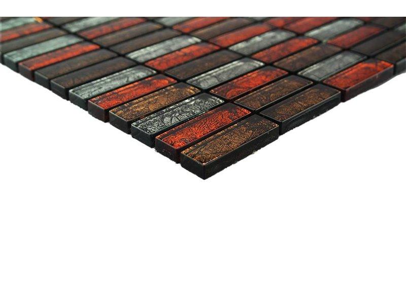 GLASMOSAIK FLIESEN - rot / braun / silber - GM1500