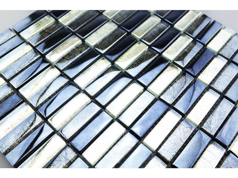 GLASMOSAIK FLIESEN - silber / grau / schwarz - G1001