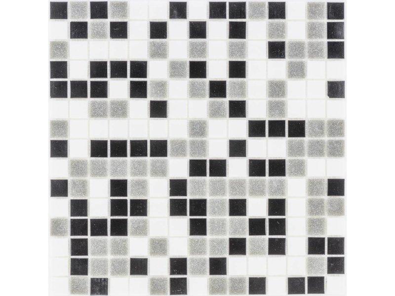 Glasmosaik black-grey-white Mix- 33cm x 33cm