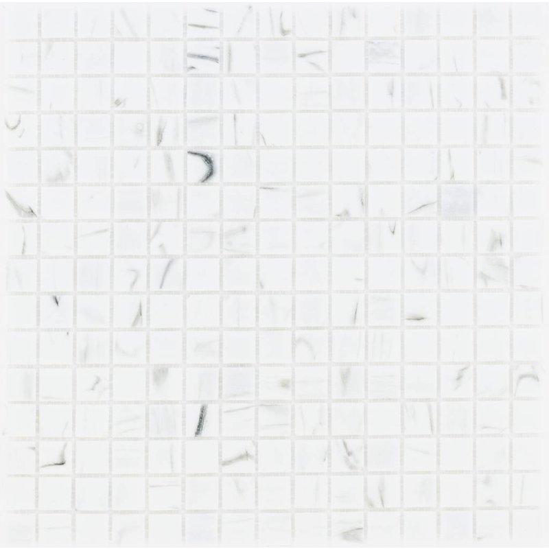 Glasmosaik Weiß marmoriert - 33cm x 33cm