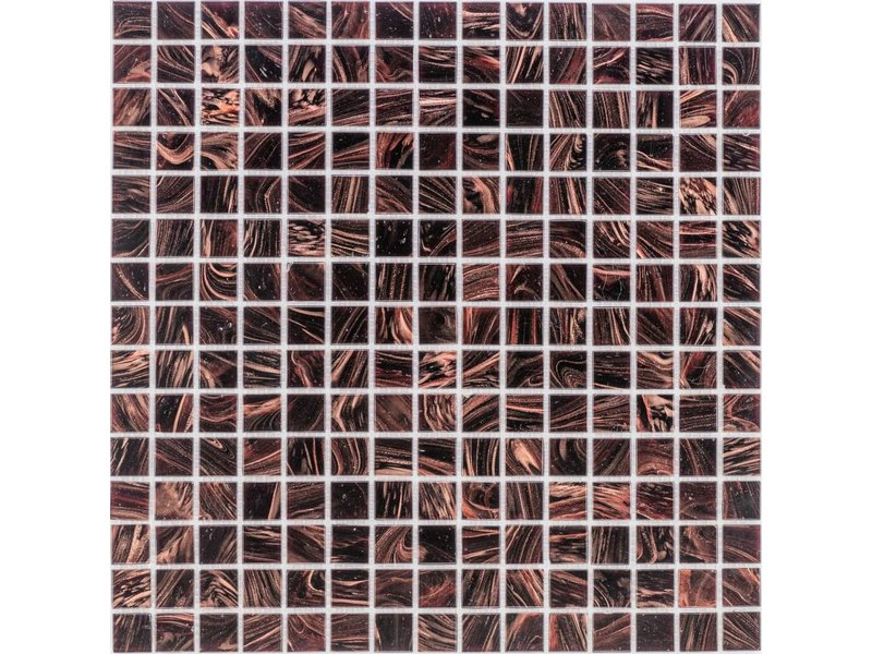 Glasmosaik Kupfer Dunkelbraun - 33cm x 33cm