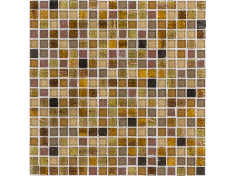 Glasmosaik Perlmutt Amber braun - 30cm x 30cm