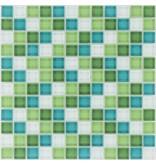 Glasmosaik Grün Weiß, glänzend - 30cm x 30cm