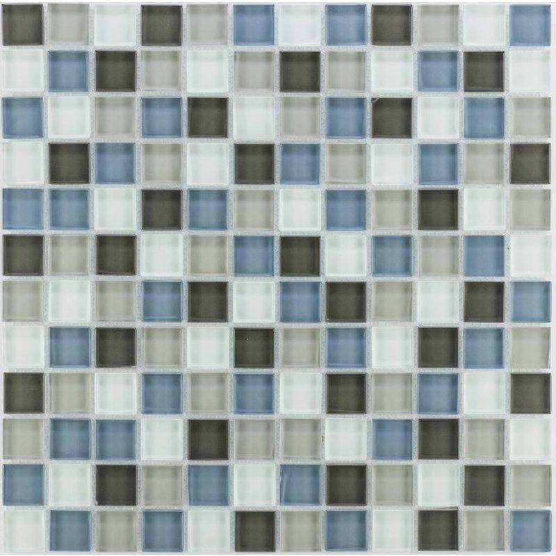 Glasmosaik grau blau weiß, glänzend - 30cm x 30cm