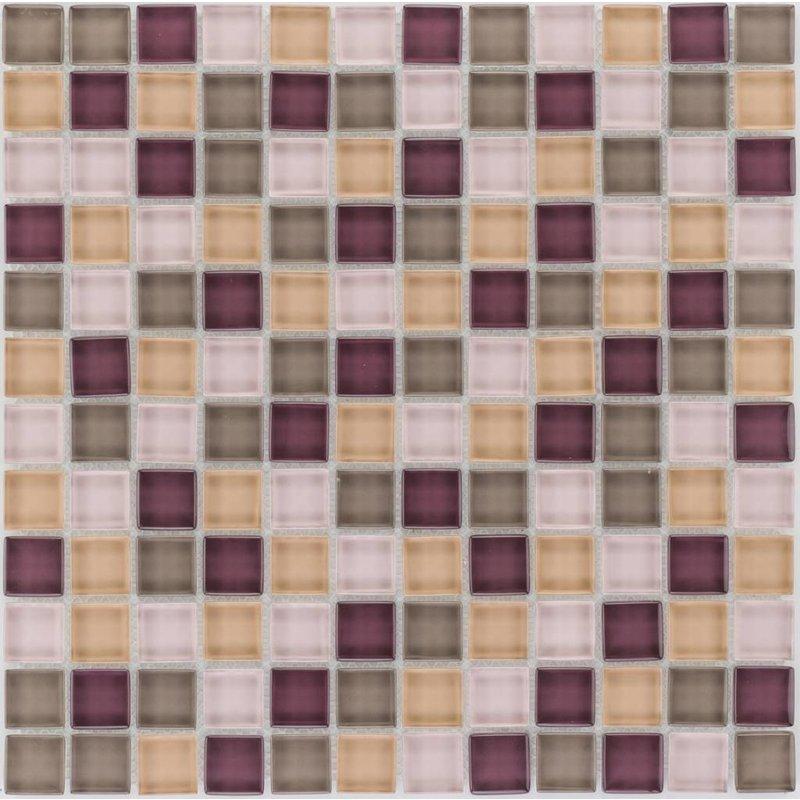 Glasmosaik violett beige, glänzend - 30cm x 30cm