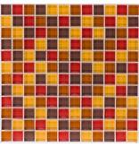 Glasmosaik rot braun beige, glänzend - 30cm x 30cm