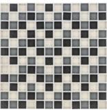 Glasmosaik schwarz grau beige, glänzend - 30cm x 30cm