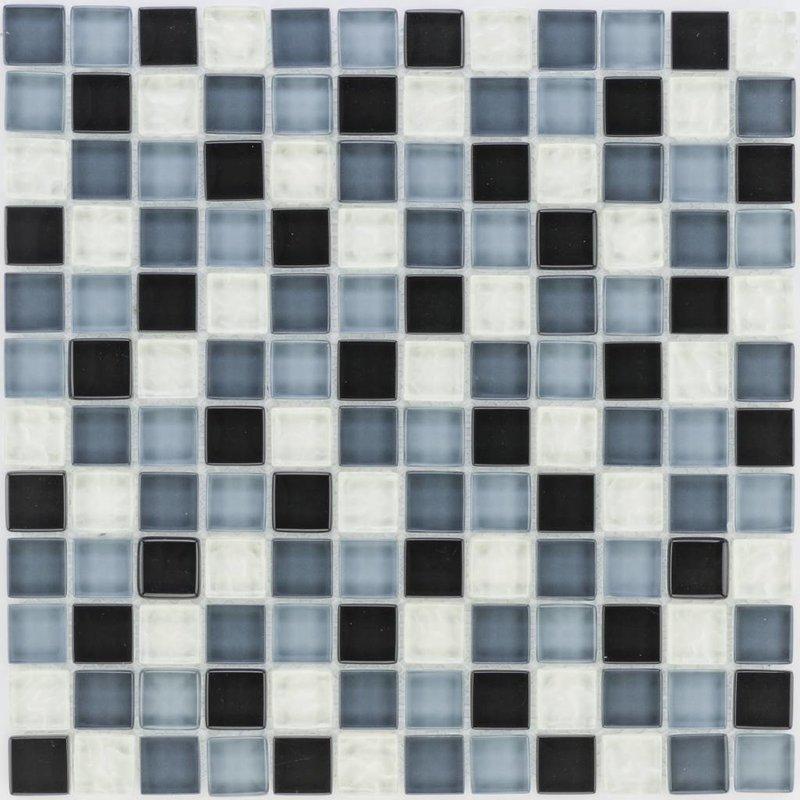 Glasmosaik Schwarz Grau Weiß, metallic - 30cm x 30cm