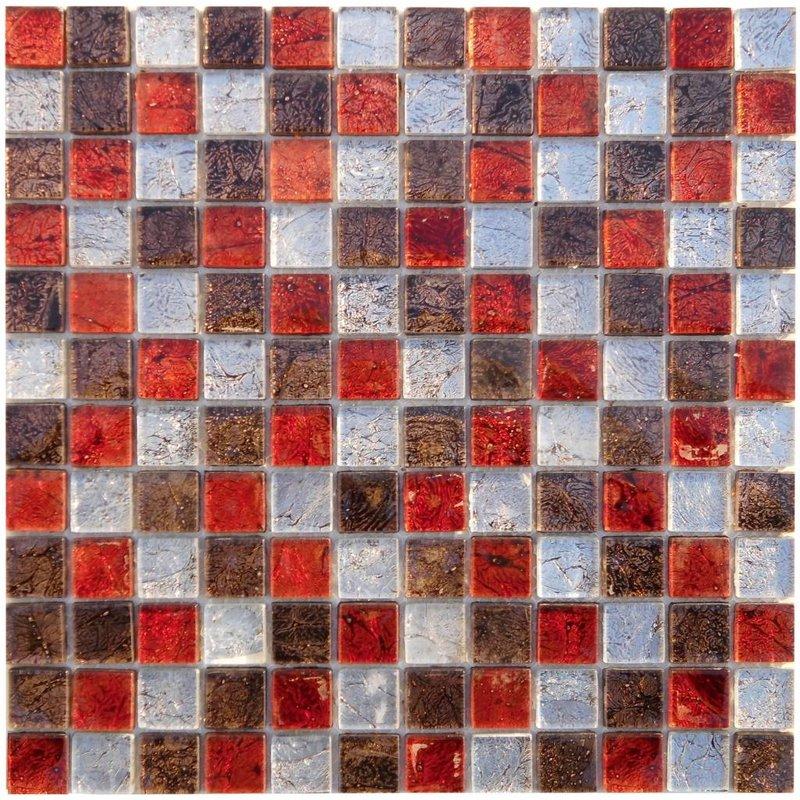 Glasmosaik Alaska Rot Braun Grau, metallic - 30cm x 30cm